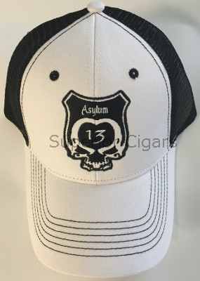 Asylum Cap, White with Black Lettering
