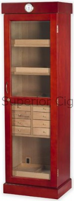 "Tower Display Humidor, Cherry, 4-shelf/8 drawers, 22 1/2"" W x 16 1/2 D x 72\"" H, Holds up to 3,000 Cigars"